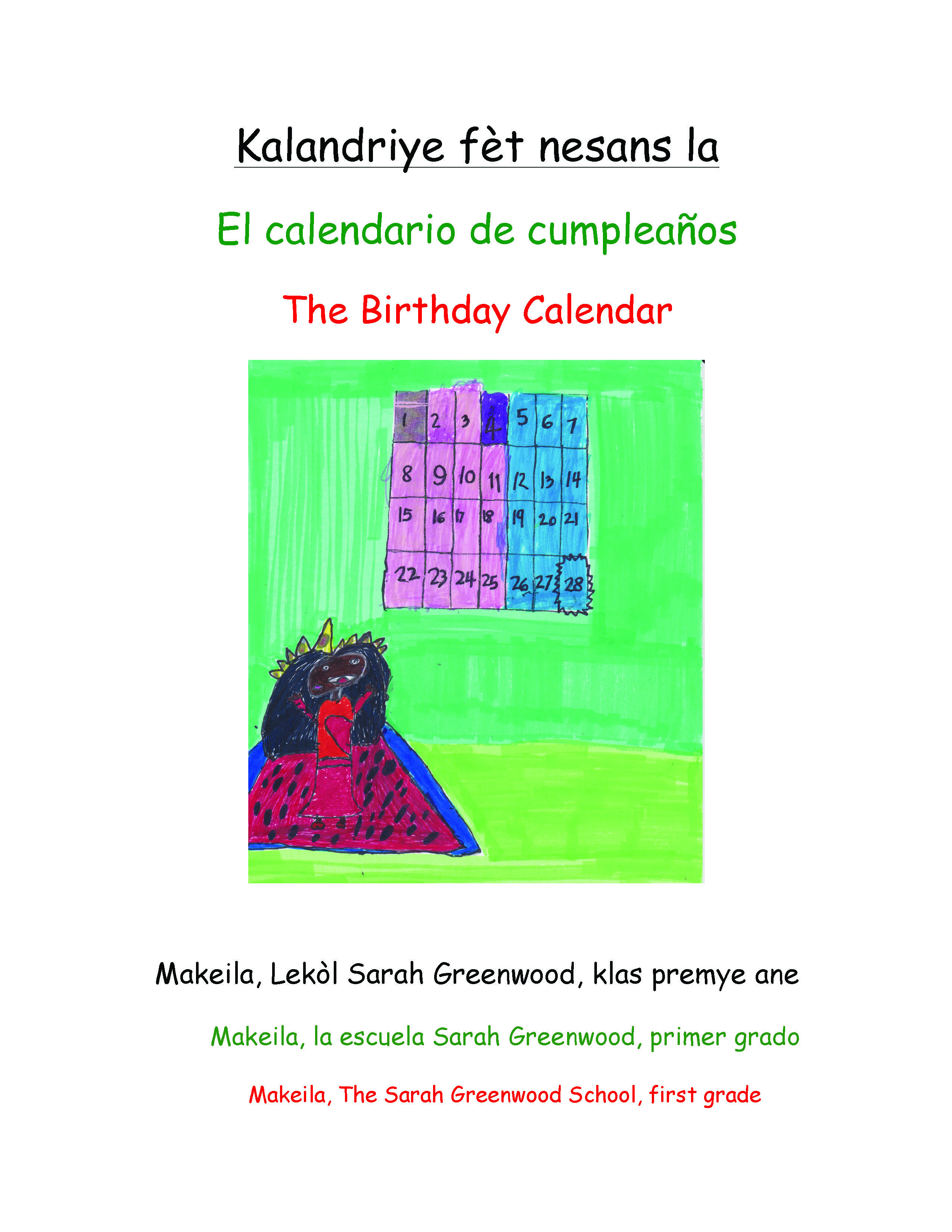 Kalandriye fèt nesans la / The Birthday Calendar